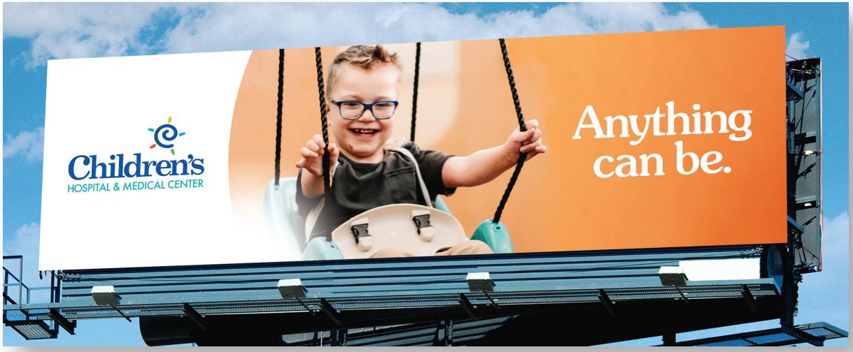 billboard with boy swinging