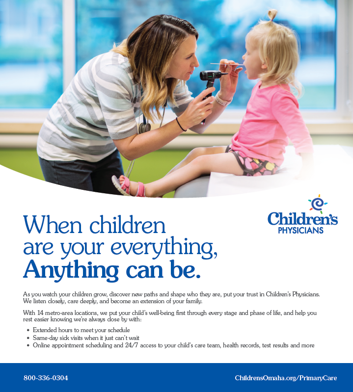print ad showing doctor examining patient with words when children are your everything anything can be