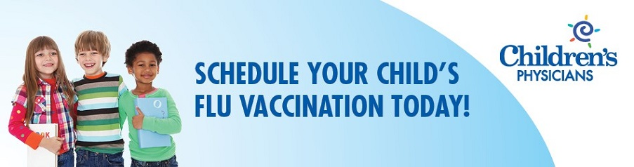 banner that says schedule your childs flu vaccination today